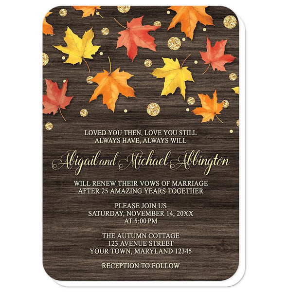 Falling Leaves with Gold Autumn Vow Renewal Invitations (rounded corners) at Artistically Invited