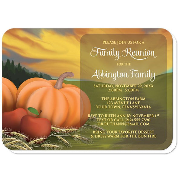 Country Autumn Harvest Family Reunion Invitations - rounded corners