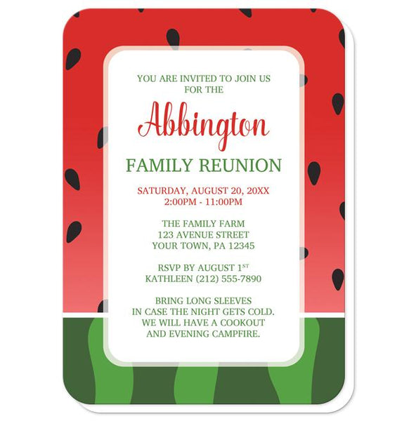 Watermelon Family Reunion Invitations - Red and Green Watermelon Family Reunion Invitations (rounded corners) at Artistically Invited
