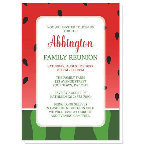 Watermelon Family Reunion Invitations - Red and Green Watermelon Family Reunion Invitations at Artistically Invited