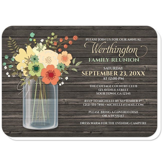 Rustic Floral Wood Mason Jar Family Reunion Invitations at  Artistically Invited