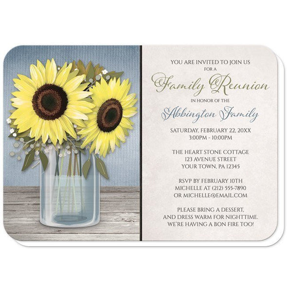 Sunflower Blue Mason Jar Rustic Family Reunion Invitations - Artistically Invited
