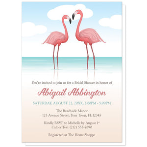 Flamingos in the Water - Flamingo Bridal Shower Invitations at Artistically Invited