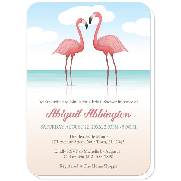 Flamingos in the Water - Flamingo Bridal Shower Invitations (rounded corners) at Artistically Invited