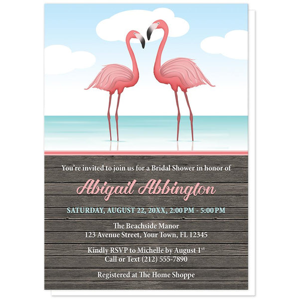 Rustic Flamingo Bridal Shower Invitations - Flamingos in the Water - Rustic Flamingo Bridal Shower Invitations at Artistically Invited