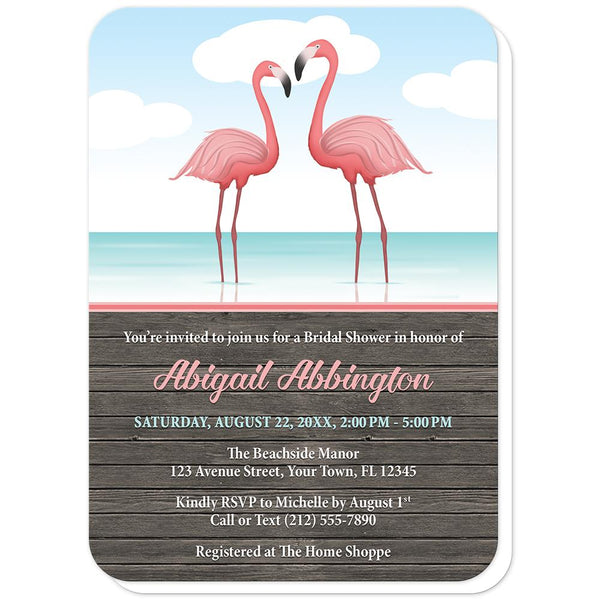Rustic Flamingo Bridal Shower Invitations - Flamingos in the Water - Rustic Flamingo Bridal Shower Invitations (rounded corners) at Artistically Invited