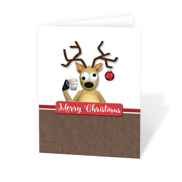 Funny Tipsy Reindeer Merry Christmas Christmas Cards at Artistically Invited