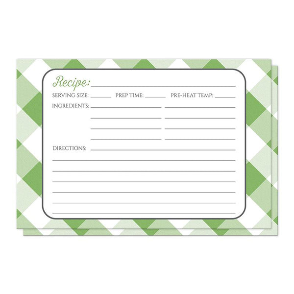 Green Gingham Recipe Cards at Artistically Invited