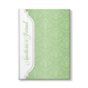 Personalized Green Damask Journal at Artistically Invited