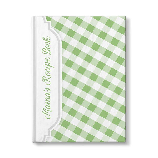 Personalized Green Gingham Recipe Book at Artistically Invited