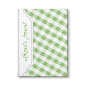 Personalized Green Gingham Journal at Artistically Invited