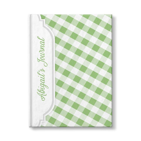 "Green and White Gingham Pattern Personalized 5"" x 7"" Journal"