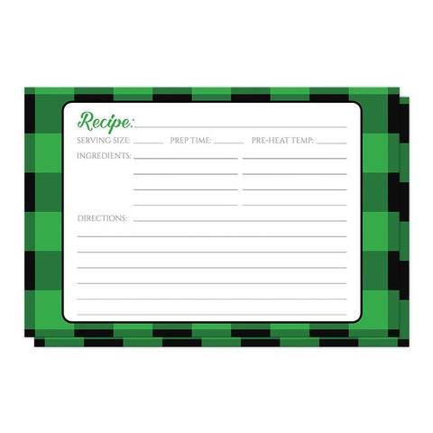 Green and Black Buffalo Plaid Recipe Cards at Artistically Invited
