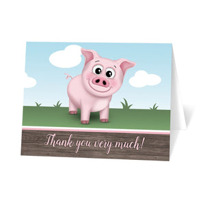 Happy Pink Pig on the Farm Thank You Cards at Artistically Invited