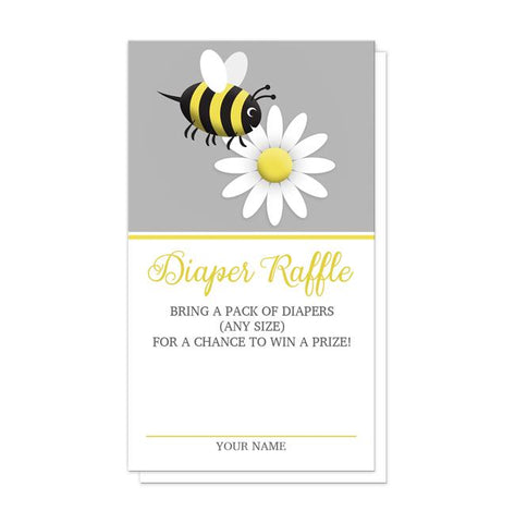 Happy Bee and Daisy Diaper Raffle Cards
