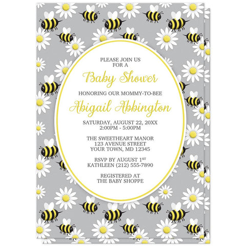 Happy Bee and Daisy Pattern Baby Shower Invitations at Artistically Invited
