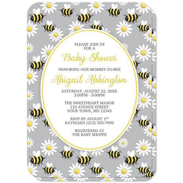 Happy Bee and Daisy Pattern Baby Shower Invitations (rounded corners) at Artistically Invited
