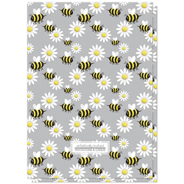 Happy Bee and Daisy Pattern Baby Shower Invitations (back side) at Artistically Invited