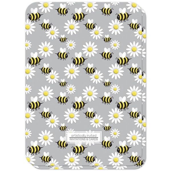 Happy Bee and Daisy Pattern Baby Shower Invitations (back side, rounded corners) at Artistically Invited