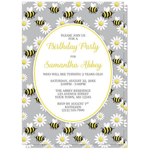 Happy Bee and Daisy Pattern Birthday Party Invitations at Artistically Invited
