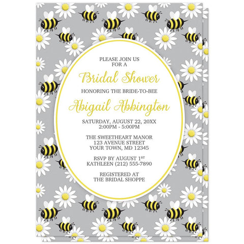 Happy Bee and Daisy Pattern Bridal Shower Invitations at Artistically Invited