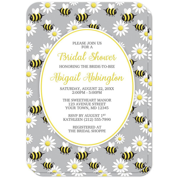 Happy Bee and Daisy Pattern Bridal Shower Invitations (rounded corners) at Artistically Invited
