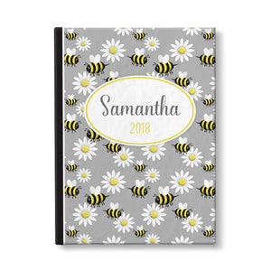 "Happy Bee and Daisy Pattern Personalized 5"" x 7"" Journal - Artistically Invited"