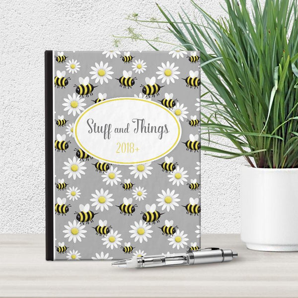 Personalized Happy Bee and Daisy Journal at Artistically Invited