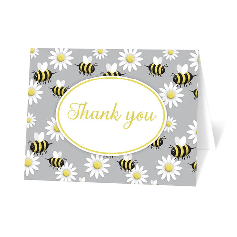Happy Bee and Daisy Pattern Thank You Cards at Artistically Invited