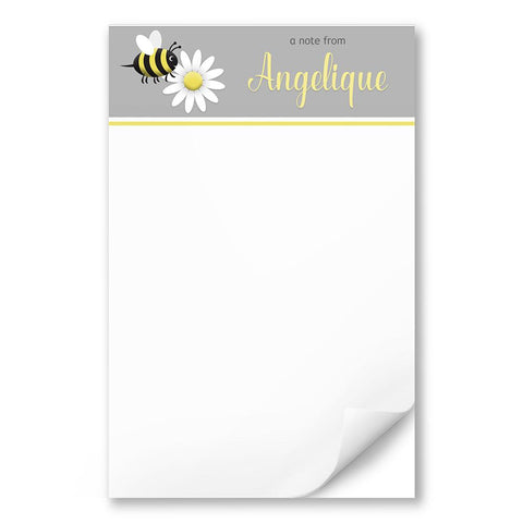 Personalized Happy Bee and Daisy - Bee Notepad - 5.5 x 8.5, at Artistically Invited