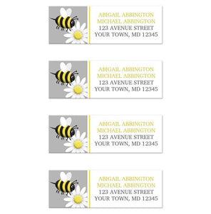 Happy Bee and Daisy Return Address Labels at Artistically Invited