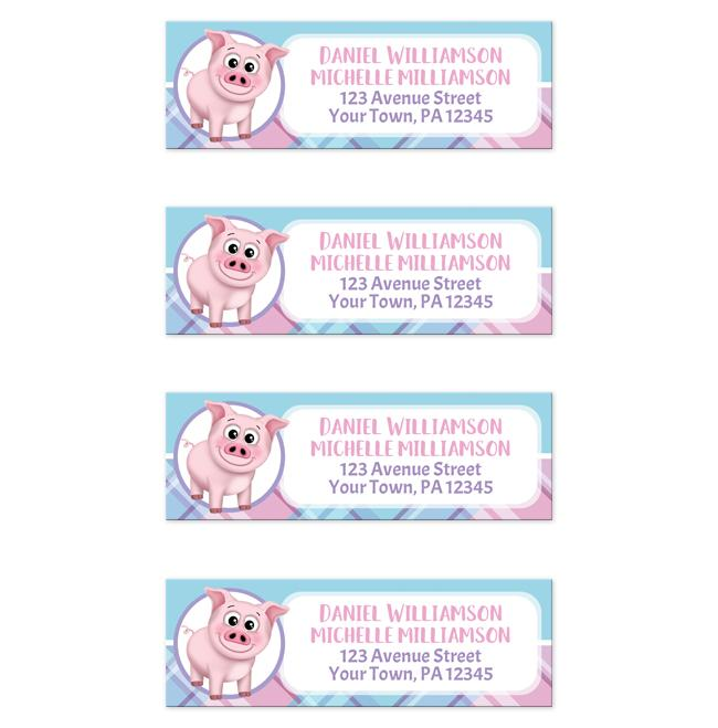 happy pig pink blue and purple plaid return address labels online at