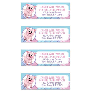 Happy Pig Pink Blue and Purple Plaid Return Address Labels at Artistically Invited