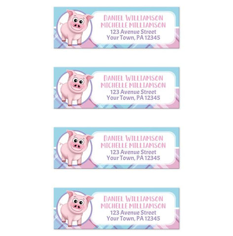 Happy Pig Pink Blue and Purple Plaid - Pig Address Labels at Artistically Invited