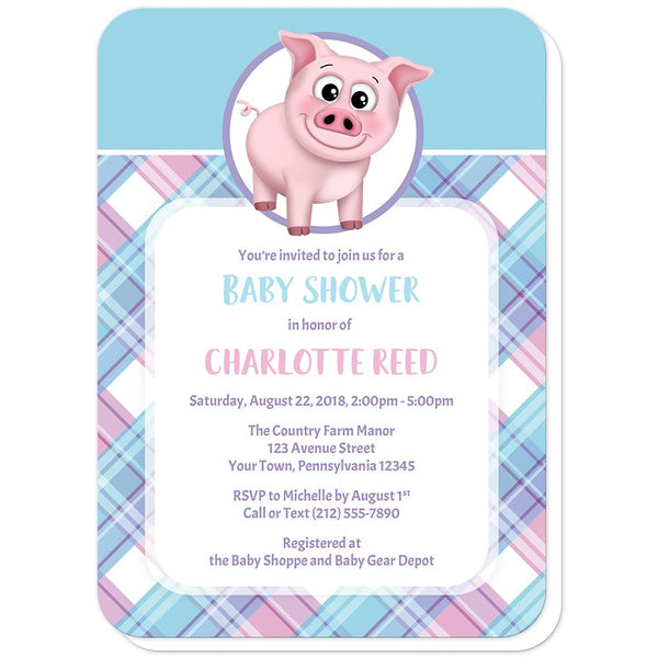 Happy Pig Pink Blue and Purple Plaid Baby Shower Invitations (rounded corners) at Artistically Invited