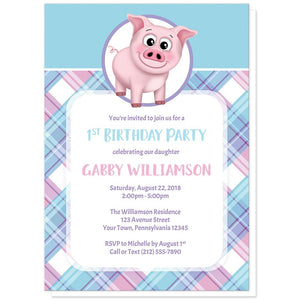 Happy Pig Pink Blue and Purple Plaid Birthday Party Invitations at Artistically Invited