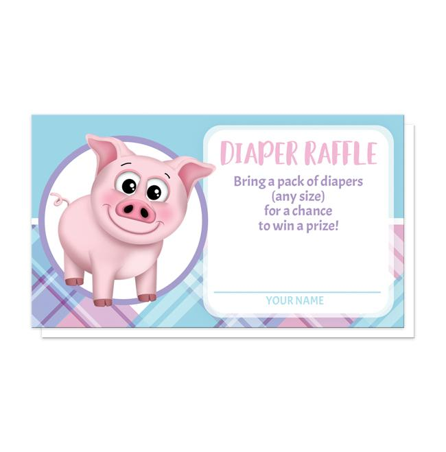 happy pig pink blue and purple plaid diaper raffle cards online at artistically invited