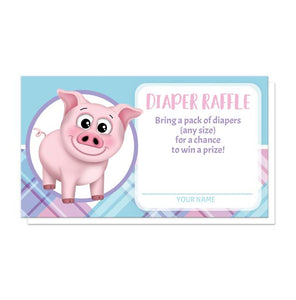 Happy Pig Pink Blue and Purple Plaid Diaper Raffle Cards at Artistically Invited