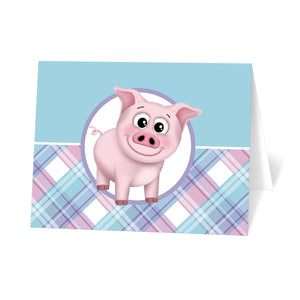 Happy Pig Pink Blue and Purple Plaid Note Cards at Artistically Invited