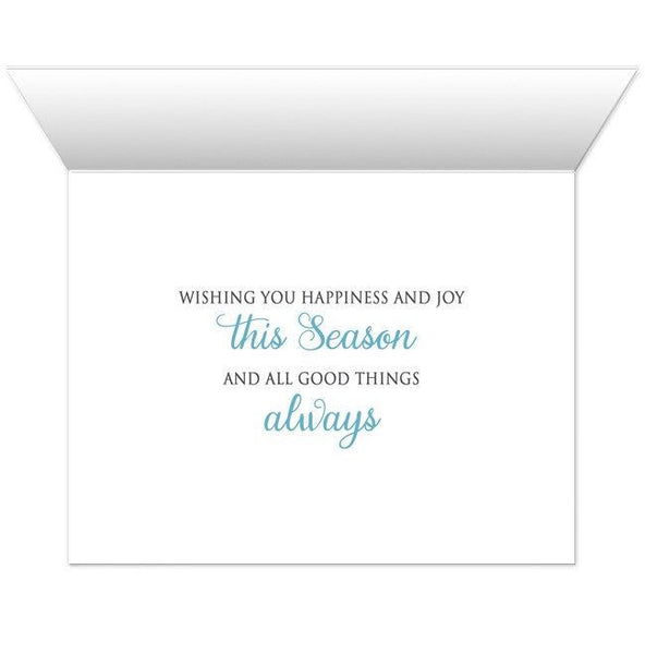 Holiday Cards - Blue Silver Snowflake Winter - INSIDE MESSAGE