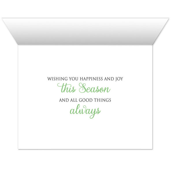Holiday Cards - Green Silver Snowflake Winter - INSIDE MESSAGE