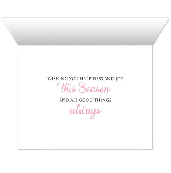 Holiday Cards - Pink Silver Snowflake Winter - INSIDE MESSAGE