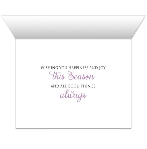 Holiday Cards - Purple Silver Snowflake Winter - INSIDE MESSAGE