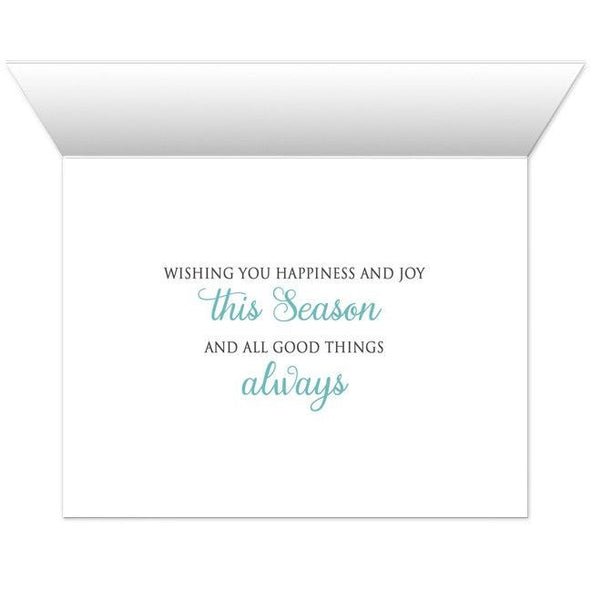 Holiday Cards - Teal Silver Snowflake Winter - INSIDE MESSAGE