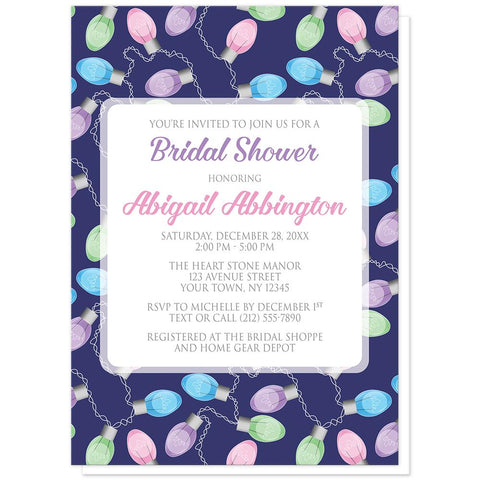 Holiday Lights Pattern Bridal Shower Invitations at Artistically Invited