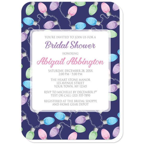 Holiday Lights Pattern Bridal Shower Invitations (rounded corners) at Artistically Invited
