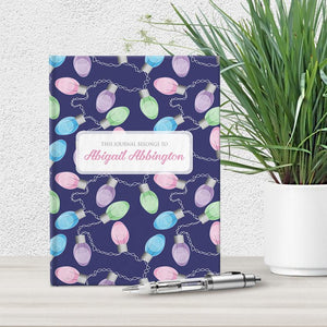 Personalized Holiday Lights Pattern Journal at Artistically Invited