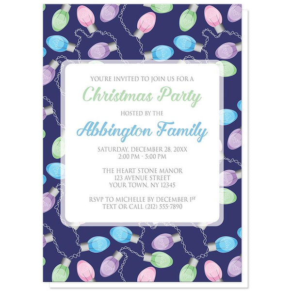 Holiday Lights Pattern Christmas Party Invitations at Artistically Invited