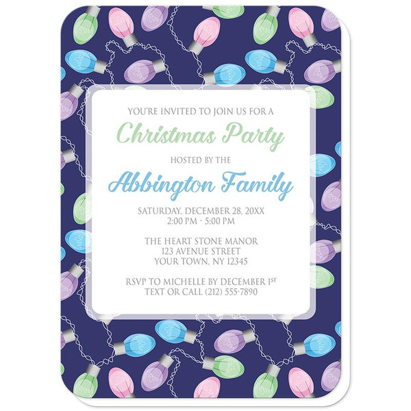 Holiday Lights Pattern Christmas Party Invitations (rounded corners) at Artistically Invited