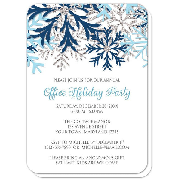 Winter Blue Silver Snowflake Holiday Party Invitations - rounded corners